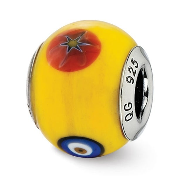 Italian Sterling Silver Reflections Yellow with Decorative Accents Glass Bead (4mm Diameter Hole)