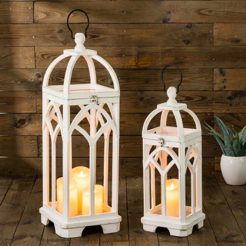 Glitzhome Set of 2 Farmhouse Wooden church window Frame Lanterns