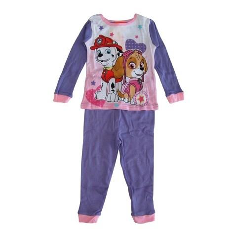 Nickelodeon Little Girls Purple Pink Paw Patrol Long Sleeve 2 Pcs Pajama Set