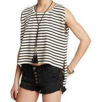 Free People White Women's Size Medium M Stripe Tank Cami Top