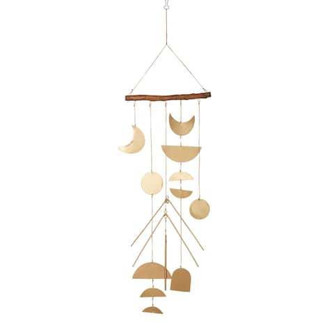 Set of 2 Large Celestial Geometric Gold Metal Wind Chime w Driftwood