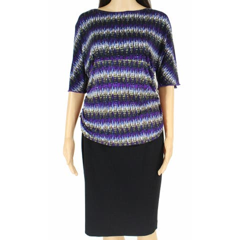 AGB Womens Blouse Purple Multi Size Large L Ruched Printed Bell Sleeve