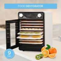 Della 9 Tray Commercial Food Fruit Jerky Dryer Drying Racks Temperature Settings and Timer Blower Dehydrator, White
