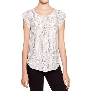 Joie Womens Iva Button-Down Top Silk Printed