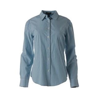 LRL Lauren Jeans Co. Womens Cotton Striped Button-Down Top - L