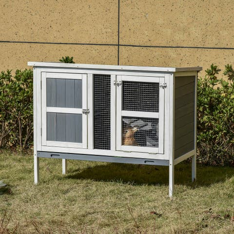 PawHut Rabbit Hutch Bunny Cage Indoor & Outdoor Small Animal House Elevated with Slide-Out Tray & Openable Top, Grey