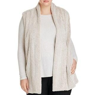 Bobeau Womens Plus Vest Faux Fur Stretch