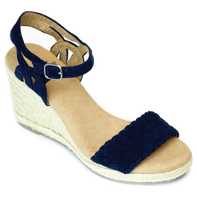 5d113bb645a Shop White Mountain Women s Crable Espadrille Wedge Sandal Navy Synthetic -  Free Shipping On Orders Over  45 - Overstock.com - 14786454