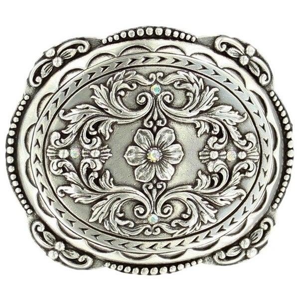Nocona Western Belt Buckle Womens Floral Rhinestones Silver - 2 1/2 x 3 1/4
