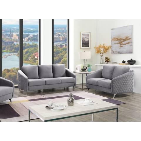 Sofia Velvet Fabric Sofa Loveseat Living Room Set