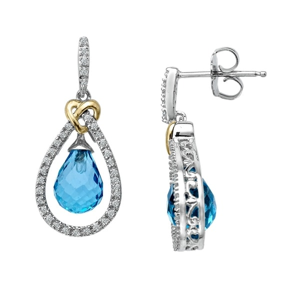 5 1/2 ct Natural Blue Topaz Drop Earrings in Sterling Silver & 14K Gold