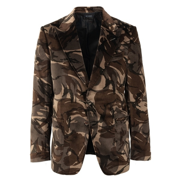3cf611ad5bedf Shop Tom Ford Mens Camouflage Velvet Shelton Dinner Blazer Jacket ...