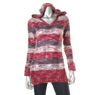 Ultra Flirt Womens Juniors Striped V-Neck Hooded Sweater
