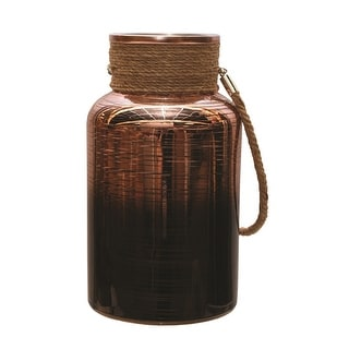 "10"" Copper Brown Circle Design Decorative Pillar Candle Holder Lantern with Handle"