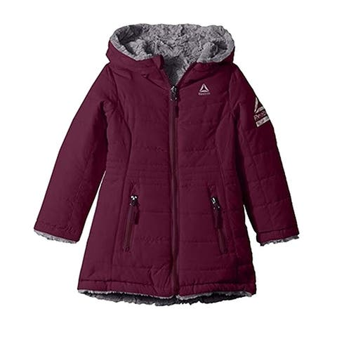 Reebok Girls Outerwear Purple Size 5-6 Reversible Faux Fur Full-Zip