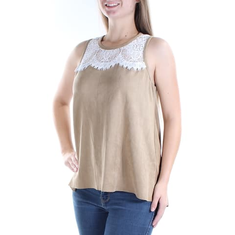 KAREN KANE Womens Beige Faux Suede Lace Sleeveless Jewel Neck Top Size: M