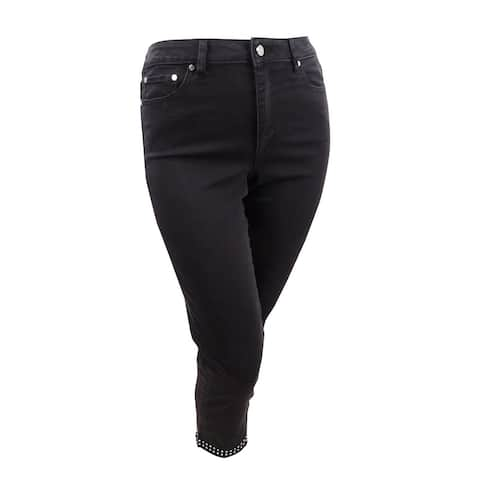 Vince Camuto Womens Studded High-Rise Jeans (30/10, Jet Black) - 10