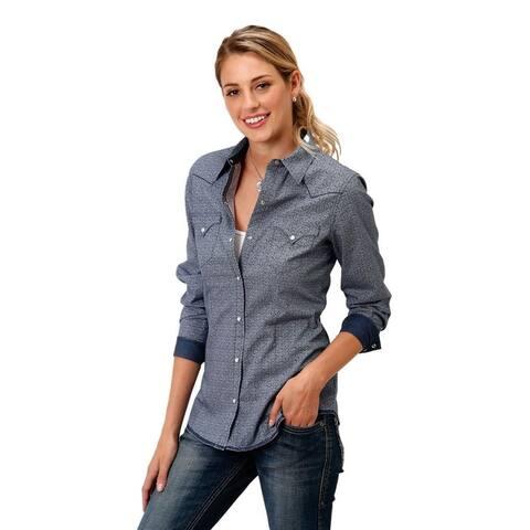 Roper Western Shirt Womens L/S Print Snap Blue