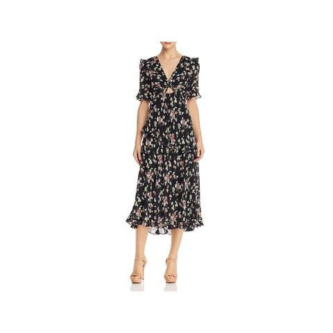JILL Jill Stuart Womens Cocktail Dress Floral Ruffled - Black/Multi