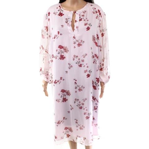 Lauren by Ralph Lauren Women's Dress Pink Size 20W Plus Floral Keyhole