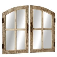 "Set of 2 Brown  Distressed Window Pane Designed Wall Mirror 29"""