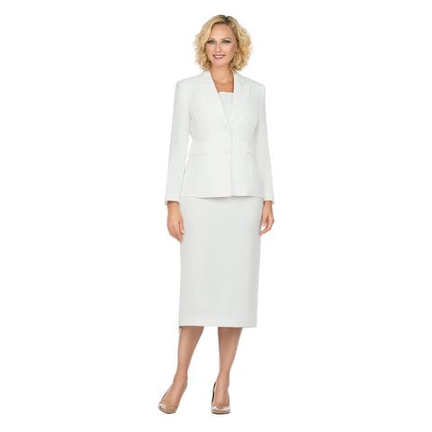 Giovanna Signature Women's Notch Collar 2pc Skirt Suit in Better Crepe