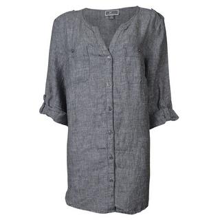 JM Collection Women's Roll-Tab Linen Utility Shirt