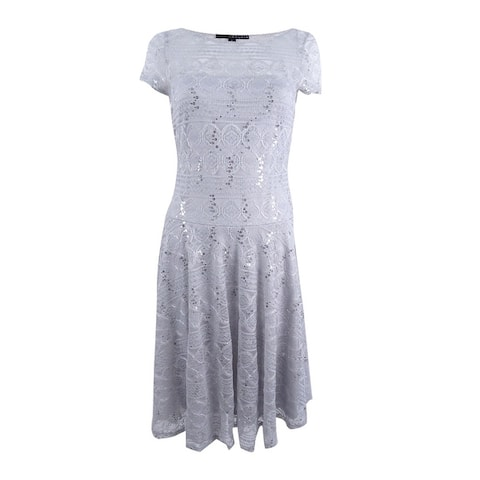 Sangria Women's Sequined Lace Fit & Flare Dress - Sterling