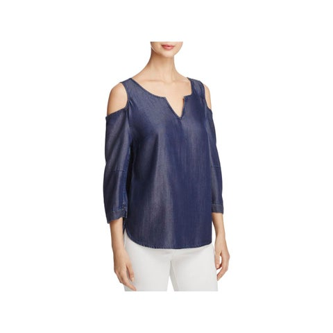 NYDJ Womens Petites Agnes Casual Top Denim Cold Shoulder