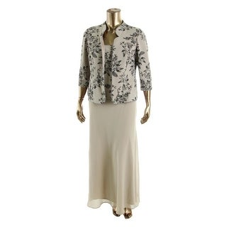 Alex Evenings Womens Chiffon Glitter Dress With Jacket - 18