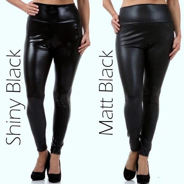 Shiny Plus size women's solid Faux leather high waist leggings pants XL 2XL 3XL