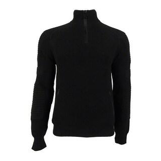 Polo Ralph Lauren Men's Quarter Zip Knit Sweater (L, Black) - Black - L