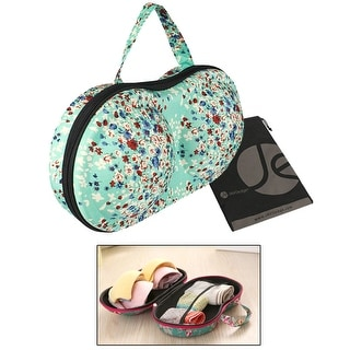 JAVOedge Blue Tiny Rose Pattern Fabric Travel Bra Storage Case with Zipper Closure and Carrying Handle