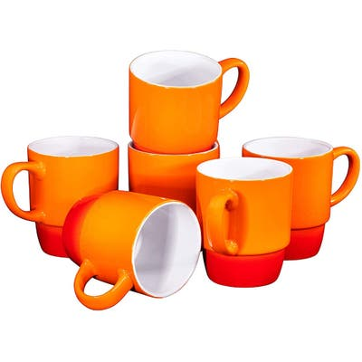 Ceramic Stacking Coffee Mug Tea Cup Dishwasher Safe Set of 6 - Large 18 Ounce