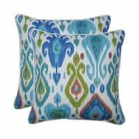"""Set of 2 Blue and Green Square Throw Pillows 18.5"""""""
