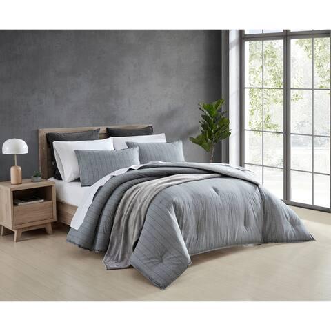 ED Ellen DeGeneres Chambray Pinstripe Grey Comforter Set