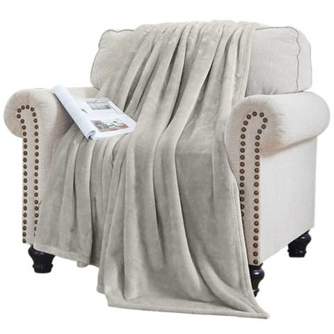 RACHEL Rachel Roy Solid Oversized Throw Blanket - Silky Soft and Cozy Flannel Fleece, for Bed and Couch
