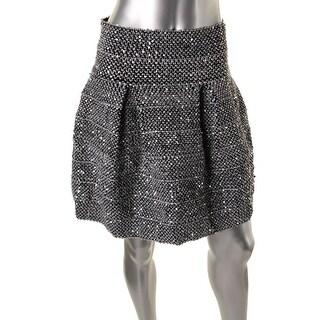 Aqua Womens Sequined Box Pleat Flare Skirt