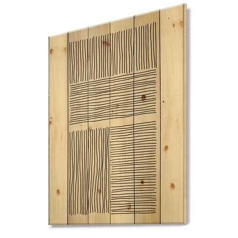 Designart 'Minimal Geometric Lines And Squares IV' Modern Print on Natural Pine Wood