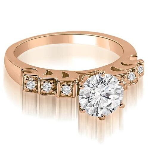 0.85 cttw. 14K Rose Gold Vintage Style Round Cut Diamond Engagement Ring