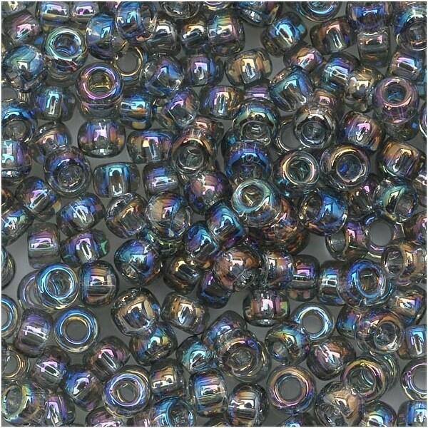 Toho Round Seed Beads 8/0 176 'Transparent Rainbow Black Diamond' 8 Gram Tube