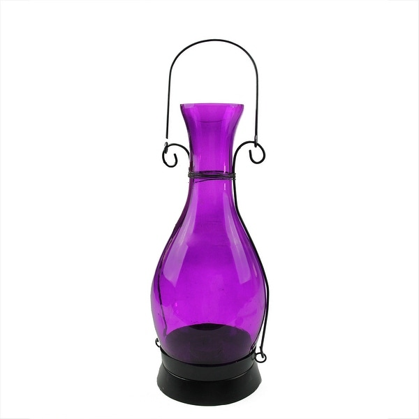 "12.5"" Transparent Purple Decorative Glass Bottle Tea Light Candle Lantern"