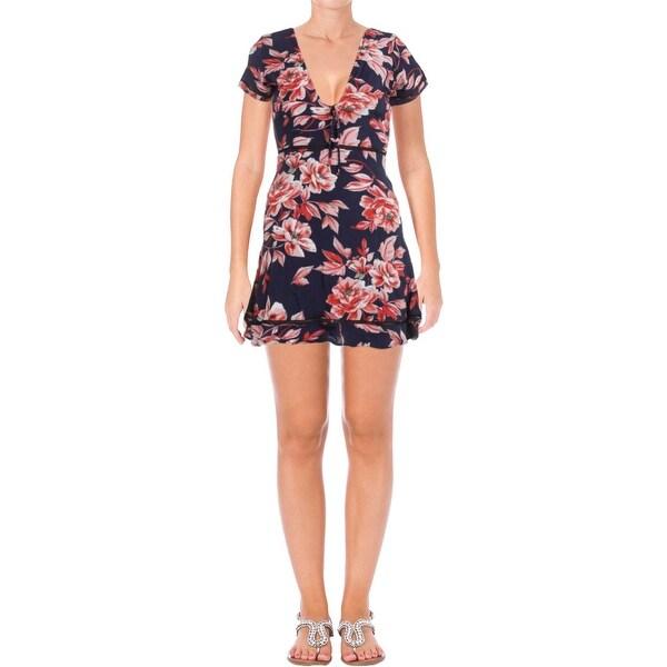 Aqua Womens Valentine Casual Dress Floral Print Short Sleeves