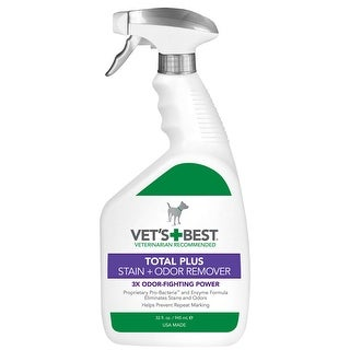 "Vet's Best Pet Total Plus Stain and Odor Remover 32oz White 4.8"" x 2.9"" x 10.75"""