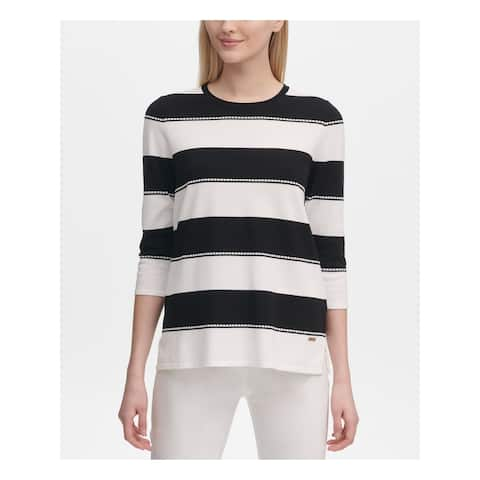 CALVIN KLEIN Womens Black Striped 3/4 Sleeve Sweater Size XS
