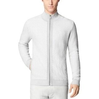 Calvin Klein Cotton Textured Marl Full-Zip Sweater X-Large XL Pearl Blue