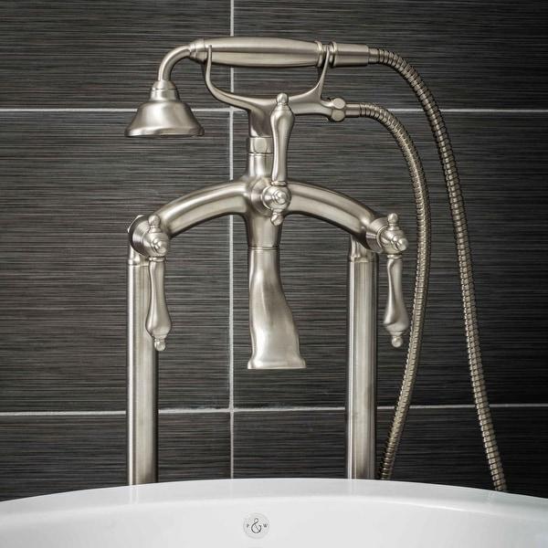 Pelham & White Luxury Tub Filler Faucet, Vintage Design, Floor Mount Installation, Lever Handles, Brushed Nickel Finish
