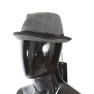 Dolce & Gabbana Gray Black Check Virgin Wool Trilby Hat - 58-cm-m