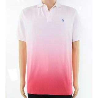 Polo Ralph Lauren White Pink Mens Size XLT Polo Rugby Ombre Shirt
