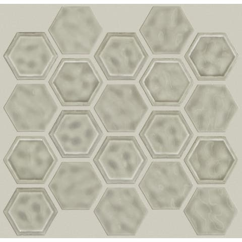 "Shaw CS50V Geoscape - 11"" x 12"" Hexagon Geometric Mosaic Wall Tile -"